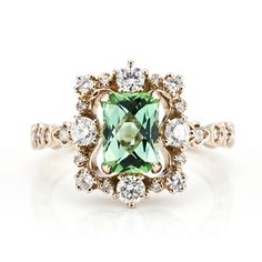 "Green tourmaline Diamond Ring - Online Shop ""Jewelry Box"""