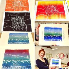 Some of the Lino prints created in the workshop today! Linoprint, Hampshire, Behind The Scenes, Workshop, Printing, Textiles, Create, Mini, Nature