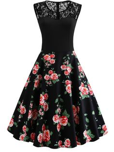 Vintage A Line Floral Ball Gown Regular Fit Round Neck Sleeveless Natural Black Short Length Lace Yoke Floral Flare Dress Pin Up Dresses, 50s Dresses, Dance Dresses, Pretty Dresses, Dresses Online, Vintage Dresses, Beautiful Dresses, Fashion Dresses, Sheath Dresses