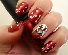 maybe these Christmas Reindeer Nails