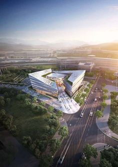 Complex Center by Junho Hong Green Architecture, Futuristic Architecture, Amazing Architecture, Contemporary Architecture, Landscape Architecture, Architecture Design, Amazing Buildings, Modern Buildings, Office Buildings
