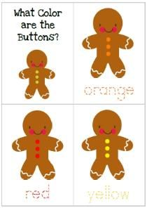 Gingerbread Baby preschool pack - cards, size order, coloring, cute poem