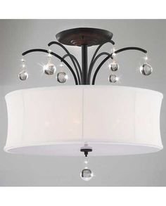 5-Light Antique Bronze Round White Drum Flush Crystal Ceiling Chandelier #Contemporary for master bedroom