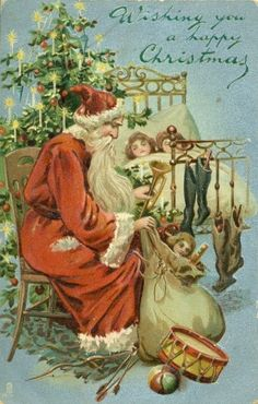Antique Christmas Postcard Santa Claus With Sack of Toys *Embossed X-Mas Tree Diy Christmas Garland, Old Christmas, Christmas Scenes, Victorian Christmas, Retro Christmas, Outdoor Christmas, Christmas Crafts, Christmas Decorations, Father Christmas