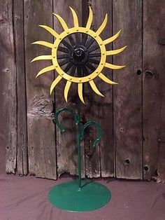 John Deere Rotary Hoe Wheel Sunflower Yard Art Primitive Steampunk