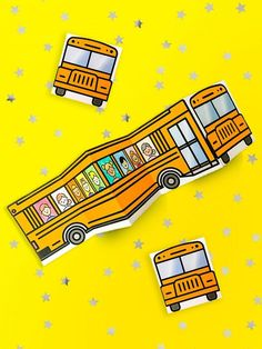 School Bus of Friends Free Printable. Back to school craft for the kids. Draw/color in classmates or teachers can have the whole class make one!