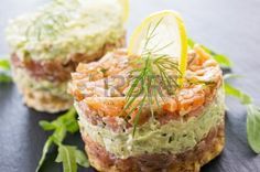 tatar with salmon and avocado Stock Photo - 20359559