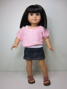 American Girl doll clothes- 3 pce trendy outfit,denim  mini skirt with white strappy tank and pink burn out knit off the shoulder top.