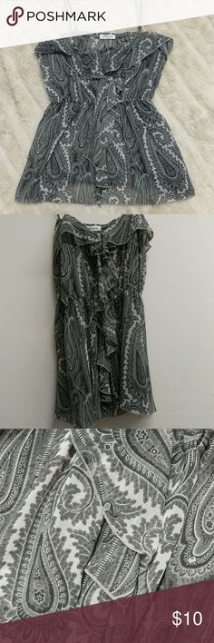 Grey Paisley Sheer Top Very pretty chiffon like top featuring a large gray paisley pattern. Misope Tops Tank Tops