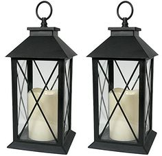 Black Decorative LED Lanterns with Cross Bar Design  Pillar Candle with 5 Hour Timer included  Hanging or Sitting Decoration  Set of 2  13H *** Be sure to check out this awesome product.Note:It is affiliate link to Amazon.