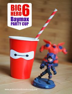 Big Hero 6 Inspired Baymax Party Cup Tutorial {with Printables} Baymax Party Ideas