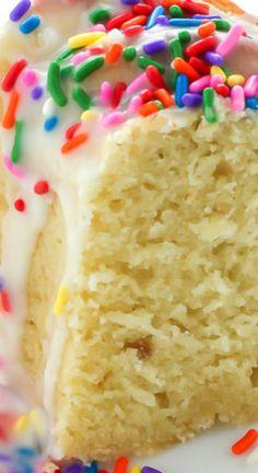 Vanilla Bean Buttermilk Bundt Cake with Buttermilk Icing ~ A supremely moist Vanilla Buttermilk Bundt Cake topped with a simple Vanilla Glaze and plenty of sprinkles!