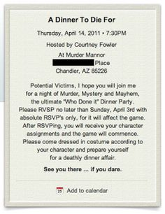 Murder mystery dinner scripts tips ideas mystery dinner invitation idea for clue party stopboris Image collections