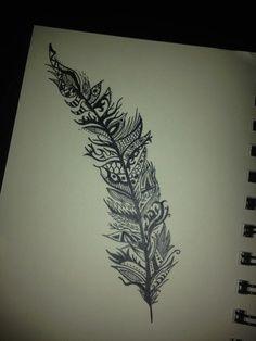 cute feather tattoo idea