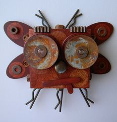"""Recycled Art Collage  -  """"The Pacific Northwest Rust bug""""  -  Original Mixed Media. $80.00, via Etsy."""