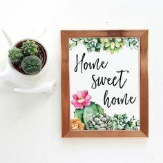 Cactus Wall Art, Cactus Decor, Watercolor Cactus, Kitchen Wallpaper, Décor Boho, Kitchen Themes, Hand Art, Decoration, House Warming