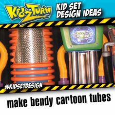 Make bendy cartoon tubes. use black flexible drainage, and a heat gun to shape the tube. paint to taste. Share your tips tricks & ideas: #kidsetdesign - INSTAGRAM VIDEO - (click to play) -   for full description follow the Instagram Link -