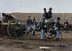Civil War artillery battery (colorized).