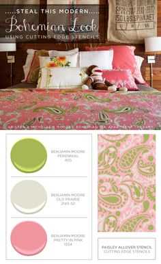 Make your own Paisley Allover stenciled bedding to get this look! http://www.cuttingedgestencils.com/paisley-allover-stencil.html  #cuttingedgestencils #stencils #stenciling #wallstencils #colorcombos #diy #homedecor #bohemian