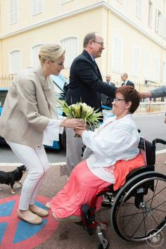 Prince Albert and Princess Charlene visited an association for people affected by traffic accidents on May 23, 2015 in Monte Carlo, Monaco.