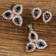 Hurrem Sultan Set Sapphire Color Tear Drop Shape Ottoman Jewellery 925 Silver