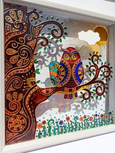 """Owl & baby art 10""""x10"""" Glass painting Wall decor Painted glass Owl decor Stained glass"""