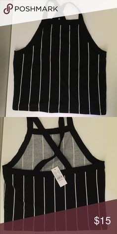 striped halter verticals striped halter // crosses in the back // great for summer PacSun Tops Crop Tops
