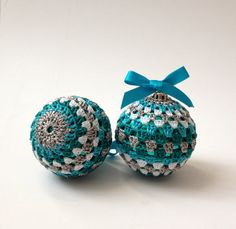 Christmas Ornaments-2 Crocheted Ornaments in Green Blue White Colours, Christmas Tree Decorations, Home Decor on Etsy, £8.00
