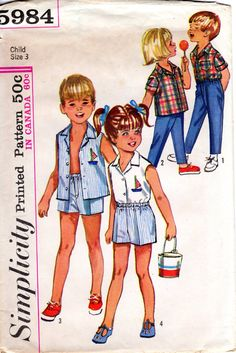 1960s Kids Summer Clothes Pattern Vintage by ErikawithaK on Etsy