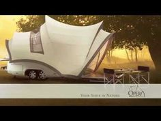 Beautiful camping trailer inspired by the shape of the Sydney Opera House.      Opera camper is equipped with collapsible roof, two beds, ceramic toilet, top loading refrigerator, LED lighting, and kitchen with hot water.  Cost: $37,000