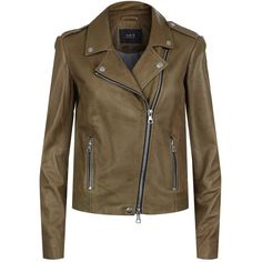 Set Leather Biker Jacket (29.265 RUB) ❤ liked on Polyvore featuring outerwear, jackets, brown motorcycle jacket, studded leather jacket, brown leather jackets, studded jacket and studded moto jacket