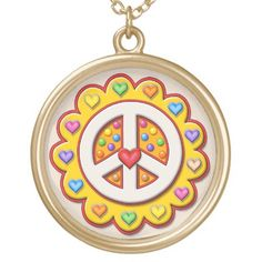 Yellow Peace Sign Flower Gold Plated Necklace Peace Sign Necklace, Gifts For Dad, Mom Presents, Gold Plated Necklace, Black Felt, As You Like, Fourth Of July, Fashion Handbags, Halloween Diy