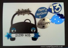 Personalised 13th Birthday Card  Grandson - any name/relation - £4.50  #CRAFTfest