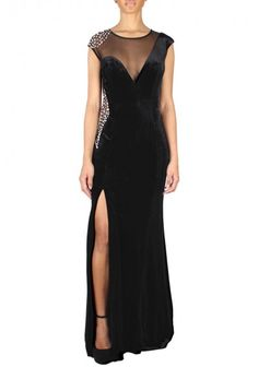 Jovani - Embellished Maxi Dress Black Front (74458A) |  black maxi dress with a sexy slit at the skirt and stunning embellishment at the side.