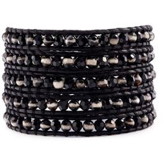 Chan Luu Black and White Wrap Bracelet on Natural Black Leather ($195) ❤ liked on Polyvore