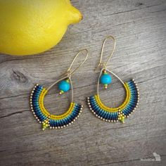 macrame earrings, beaded earrings, acai beads, glass seed beads, silver gold… - Best Home Idea Macrame Jewelry, Diy Jewelry, Jewelery, Jewelry Design, Jewelry Making, Gold Jewellery, Jewellery Market, Damas Jewellery, Jewellery Earrings