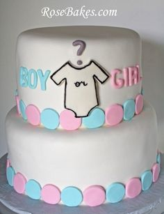 Baby Onesie Gender Reveal Cake Click over for more pics and to see if its Baby Shower Cakes For Boys, Baby Shower Themes, Baby Boy Shower, Baby Shower Gifts, Shower Ideas, Baby Showers, Onesie Cake, Baby Onesie, Baby Shower Gender Reveal