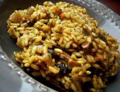 Lubczykowe risotto z suszonymi grzybami