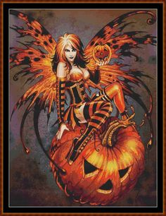 Samhain Fairy Cross Stitch [fairy halloween pumpkin witch] - £0.88 ...