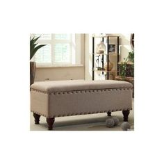 $140.38 STYLISH Upholstered Nailhead Storage Bench in a Contemporary Design with Safety Hinged Lid. Perfect for an Entry Way, Hallway, Family room or Bedroom