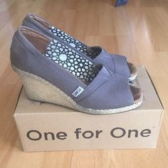 Toms Wedge Sandals Versatile grey color. In good used condition. Please see pictures. TOMS Shoes Wedges