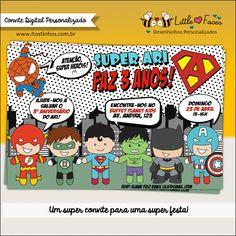 Convite Festa Super Heróis Digital