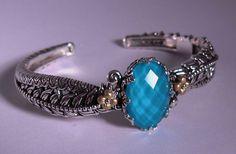 Barbara Bixby Turquoise Doublet Vine Bangle ss/18k