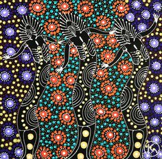Dreamtime Sisters by Colleen Wallace Nungari from Utopia, Central Australia created a 33 x 32 cm Acrylic on Canvas painting SOLD at the Aboriginal Art Store Indigenous Australian Art, Indigenous Art, Rainbow Serpent, Pointillism, Different Textures, Aboriginal Art, Art Store, Dot Painting, Cool Patterns