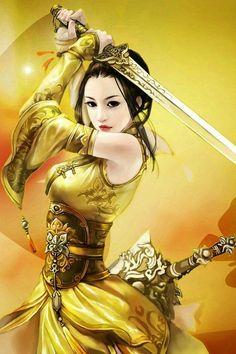 Female warrior dressed in yellow. Fantasy Girl, Chica Fantasy, Fantasy Warrior, Fantasy Women, Dark Fantasy, Art Geisha, Geisha Kunst, Geisha Tattoos, Female Samurai