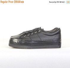 platform sneakers 90s lace up black leather platform sneaker trainers shoes  women's 10 US / 42 EU (44.00 USD) by youngandukraine