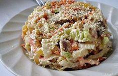 Еще один вкусный салат в копилочку! Ингредиенты: куриное мясо, вареноепекинская капустагрибы свежиерепчатый лукболгарский перецморковьчеснокмайонезсольмасло растительное или оливковое Приготовление:…