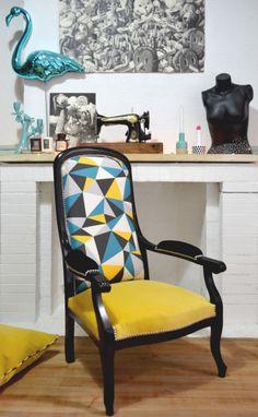 ATELIER KOBALT Fauteuil voltaire tapisserie ameublement bordeaux chartrons customisation sur mesure
