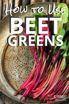 "Wondering how to use beet greens? They're not a common ""vegetable"" but they're perfectly edible! Here's how to add some beet greens to your next meal. Beet Stem Recipe, Beet Leaf Recipes, Beet Green Recipes, Pickled Beet Stems Recipe, Raw Beets, Fresh Beets, Real Food Recipes, Cooking"