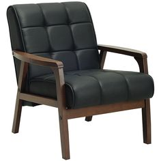 KIA SCANDI STYLE ARMCHAIR (PU) BLACK CUSHION / WALNUT FRAME (AC054PU)